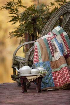 handmade quilt & bent willow chair - Ana Rosa