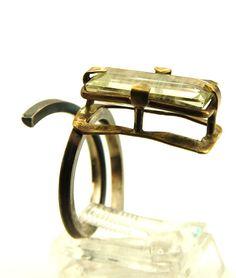 Silver & Brass Beryl - (Aquamarine) Ring size 7, Adjustable, OOAK, Statement Ring