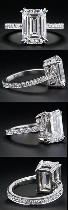 4.00 carat emerald-cut diamond engagement ring. Via Diamonds in the Library.