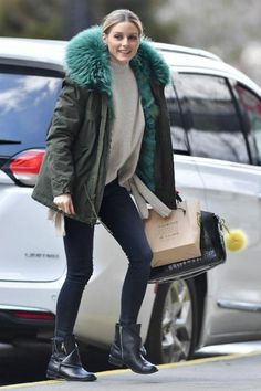 Olivia Palermo wearing Givenchy Antigona Bag, Dv by Dolce Vita Sera Boots, Mr & Mrs Italy Army Parka Midi Patch Fur Coat in Green Turquoise and Tibi Tie-Side Cashmere Sweater