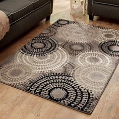 Better Homes and Gardens Taupe Ornate Circles Olefin Area Rug - Walmart.com