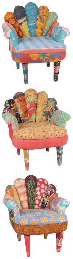 Amazing #boho upholstered chairs: great #upcycled #DIY idea! Put those unwanted clothes, blankets & more to use!