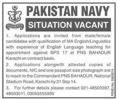 Pakistan Navy Karachi Jobs