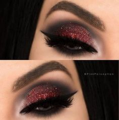 Makeup ideas for quinceanera eyeshadows New IdeasYou can find Black makeup looks and more on our website.Makeup ideas for quinceanera eyeshadows New Ideas Red Glitter Eyeshadow, Red Eyeshadow Look, Red Eye Makeup, Glitter Makeup, Makeup For Brown Eyes, Glam Makeup, Eyeshadow Makeup, Eyeshadow Palette, Makeup Brushes
