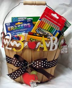 Back to School is for teachers too! Welcome your new instructor with a sweet basket of goodies. / Image via Hand to Paper blog http://reginaeaster.blogspot.com/search?updated-max=2007-10-23T19:11:00-07:00&max-results=50