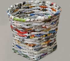#Recycled Newspaper Waste Basket