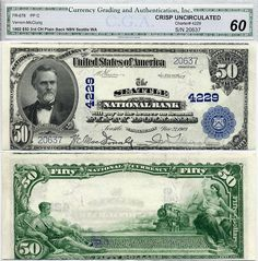 u.s. currency | 1902 $50 The Seattle National Bank Washington Note
