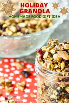 All the flavours of the holidays are packed in this crunchy homemade granola. The PERFECT food gift. Take this to your next host/hostess and they will love it. Fall Recipes, Holiday Recipes, Snack Recipes, Cooking Recipes, Christmas Recipes, Oatmeal Recipes, Simple Recipes, Brunch Recipes, Holiday Ideas