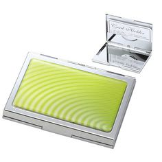 Custom engraved personalized chrome plated business card holder green wave design business card case with inside clip create a favor reheart Gallery