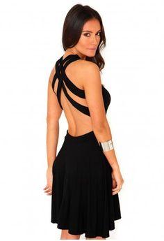 Missguided - Dorith Cross Over Back Skater Dress In Black