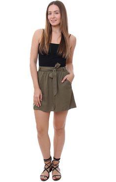 BB Dakota Skirts Olive Green Self-Tie Waist Skirt