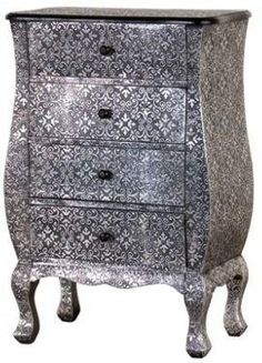 Grey metallic damask end table