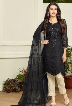 Cream Black Designer Suit - Desi Royale