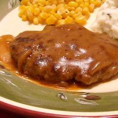Hamburger Steak with Onions and Gravy - this is absolutely delicious. I used 1 tbsp white wine instead of the cooking sherry. A keeper for sure.