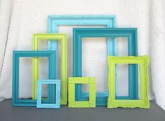 Lime Green Aqua Teal Turquoise Vintage Ornate Frames set of 7 Upcycled Painted…