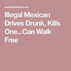 Illegal Mexican Drives Drunk, Kills One...Can Walk Free