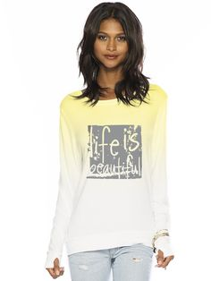 Life Is Beautiful White/Buttercup Oversized Comfy Top