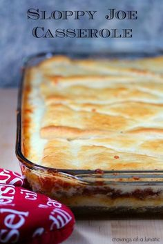 Sloppy Joe Casserole from cravingsofalunati. This is an amazing quick and easy dinner recipe for those busy nights. Sloppy Joe Casserole has layers of deliciousness and its loaded with flavor and cheese! Think Food, I Love Food, Good Food, Yummy Food, Sloppy Joe Casserole, Beef Dishes, Food Dishes, Main Dishes, Cocina Light