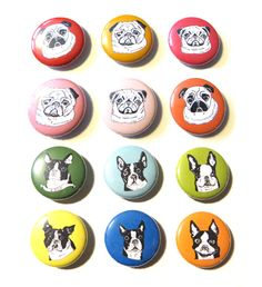 Dog Magnets of many breeds available at GoodAfternoonan. The perfect gift for the dog lover.  Pugs, boston terrier packs and more.