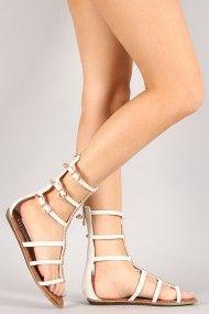 Liliana Bianca-1 Jewel Mid Calf Gladiator Flat Sandal #Urbanog
