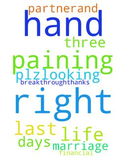 Pray for my right hand please ..paining - Pray for my right hand please ..paining from last three days. ..also pray for my marriage plz..looking for life partner.and Pray for my financial breakthrough..thanks Posted at: https://prayerrequest.com/t/AVN #pray #prayer #request #prayerrequest
