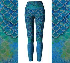 Hand Painted Watercolor Mermaid Leggings, Eco Friendly Mermaid Scales Leggings, Dragon Leggings,  Mermaid Yoga Pants,  Halloween Leggings