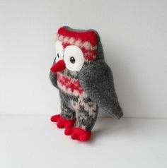recycled sweater owl