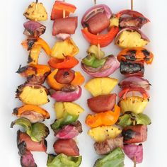 Grilled Pineapple, Pork & Sausage Kabobs Marinade Recipe!