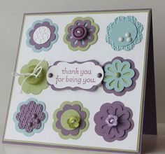 triple layer punch--This card is ADORABLE!!!! I LOVE the colors especially!!! :-)