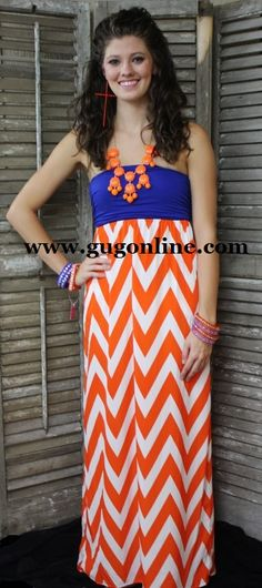 Lets Get Ready To Rumble Orange, White, and Blue Gameday Maxi Dress www.gugonline.com $42.95