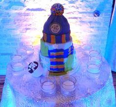 This winter-themed B'nai Mitvzah cake perfectly matched the dreadful weather outside. December 14, 2013 at Front & Palmer in Philadelphia.  Congrats Sydney & Ethan!