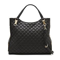 """VINCE CAMUTO RILEY3-  QUILTED LEATHER TOTE-Refresh your wardrobe with the soft, unstructured Riley Tote. Naturally chic in posh black leather quilting, this timeless pick-me-up works seven days a week. An easy top-zip closure ensures all of your essentials are safe and secure. Carry on.  <LI> 15.75"""" W x 12"""" H x 3.25"""" D  <li> Leather"""
