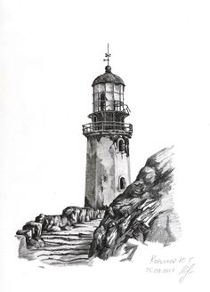 Lighthouse Sketch, Lighthouse Storm, Lighthouse Art, Tattoo Barco, Step By Step Sketches, Environment Sketch, Lighthouse Pictures, Forearm Sleeve Tattoos, Ocean Pictures
