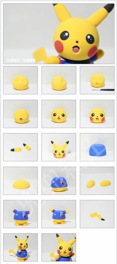 Most up-to-date Screen Clay diy pokemon Concepts Untitled Cute Polymer Clay, Cute Clay, Polymer Clay Projects, Diy Clay, Fondant Cake Toppers, Fondant Figures, Clay Figures, Bolo Pikachu, Pikachu Cake