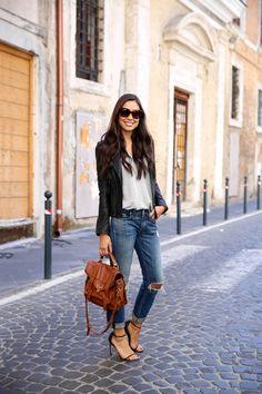 On The Streets of Rome - Rag & Bone jeans // Joie jacket // Vince sweater Stuart Weitzman heels // Proenza Schouler bag Wednesday, October 7, 2015