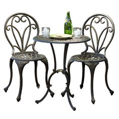 Have to have it. Cast Aluminum Dark Gold Bistro Set - $227.99 @hayneedle