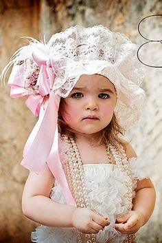 Heirloom Couture Baby Bonnet/Headband- this is one of the most precious things I've ever seen/total <3