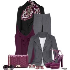 Friday @ The Office In Plum/Grey/Black by marion-fashionista-diva-miller on Polyvore featuring White House Black Market, Burberry, Gucci, Rebecca Minkoff, H&M, women's clothing, women's fashion, women, female and woman