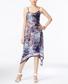 Eci Paisley-Print A-Line Handkerchief-Hem Dress - Blue XL