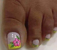 Pies Toenail Art Designs, Flower Nail Designs, French Pedicure Designs, Toe Nail Color, Toe Nail Art, Nail Colors, New Nail Art Design, Pretty Toe Nails, Summer Toe Nails