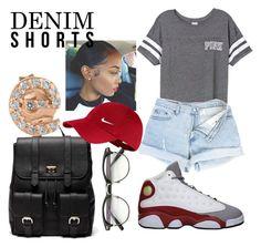 """Denim Short Contest "" by dresslikeyanna ❤ liked on Polyvore featuring Victoria's Secret, Retrò, Sole Society, NIKE, KC Designs, jeanshorts, denimshorts and cutoffs"