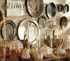 I recently saw a similar display on Pinterest and like the collected look they bring to a space.  Silver trays are a dime a dozen at Goodwill and other thrift stores.  Pretty and inexpensive!