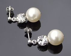 Wedding Drop Pearl Earrings, Andrea | The Wedding Hair Accessory and Bridal Jewellery Experts.