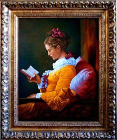 Dziewczyna czytająca książkę,  51cm x 40cm,  Obraz olejny na płótnie