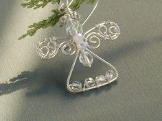 White angel handmade wire wrapped pendant or by VeraNasfaJewelry
