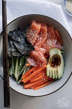 Paleo Sushi Bowl Sushi without rice is no sushi at all, unless it is a Paleo Sushi Bowl - fresh salmon with chopped veggies sitting upon a bed of cauliflower rice. Paleo Sushi, Sushi Recipes, Seafood Recipes, Paleo Recipes, Paleo Food, Crockpot Recipes, Yummy Recipes, Paleo Meal Prep, Paleo Dinner
