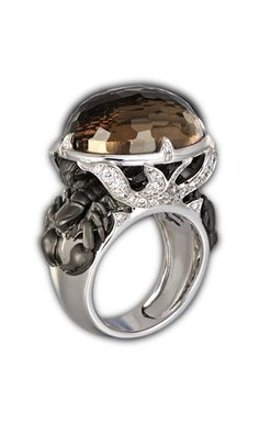 Ring scorpion quartz SO 1779.2     Yellow Gold 18KT, diamonds and fumé quartz #Magerit #ScorpionCollection #jewels