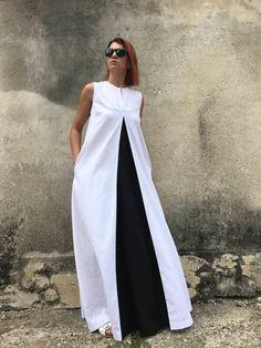 White Linen Dress Plus Size Linen Dress Linen Dress White Kaftan Avant Garde Linen Plus Size Dress Casual Dress Black And White Dress Plus Size Maxi, Plus Size Dresses, Plus Size Outfits, African Fashion Dresses, African Dress, White Linen Dresses, White Dress, Dress Black, Skirt Fashion