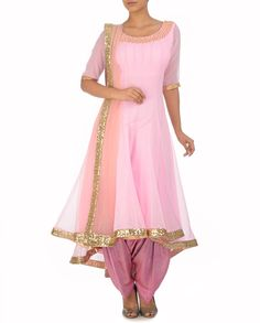 MONIKA NIDHII Soft Pink Anarkali Kurta with Patiala Pants