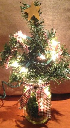 Primitive mason jar lighted tree, primitive christmas